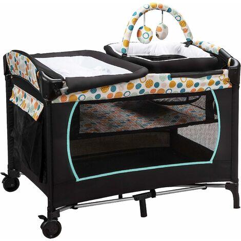 4 en 1 Cuna de Viaje Plegable para Bebé Cambiador Corralito y Cesta para Bebé Cuna con Colchón Caja de Música Juguetes y Bolsa de Transporte