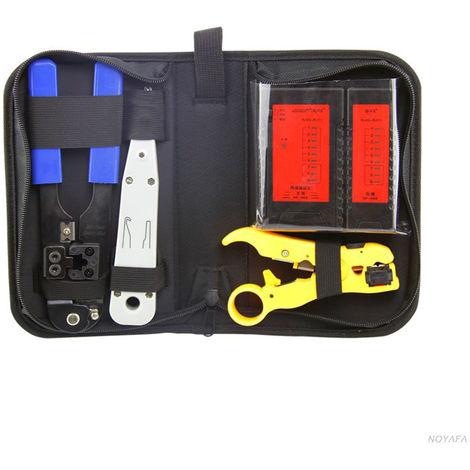 4 En 1 Reseau Testeur De Cable Lan Set Testeur Rj11 Mesurable Fil Tracker Diagnostiquer Finder Fil Outil De Test Avec Rj45 Sertisseuse A Denuder L'Outil De Perforation