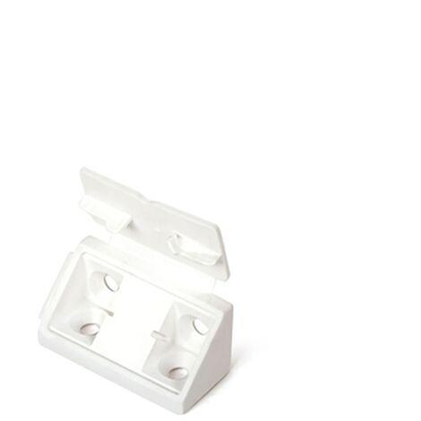 4 Escuadras de ensamble doble con tapa, fabricada en plástico y con acabado blanco