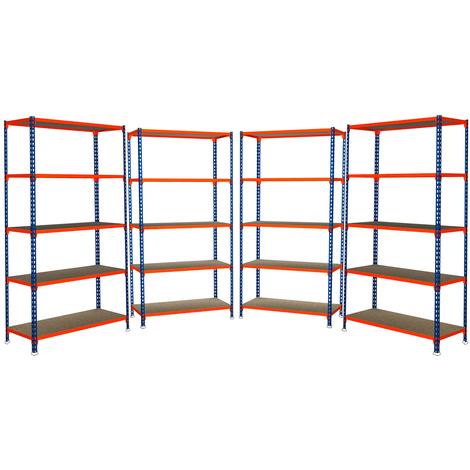 4 Estanterías sin Tornillos J200 Madera. Med. 2000/1000/400 mm. Color Azul/Naranja