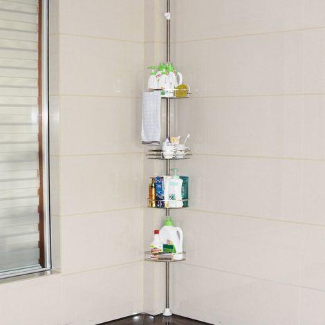4 Etagère télescopique d'angle de douche hauteur réglable 110-310cm rangement de douche à tension