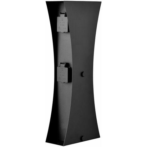 4-fach Außen Steckdose in schwarz, Höhe 46 cm, CONNECT D4A