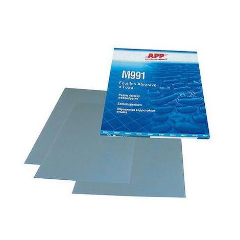 4 feuilles grain 180 de papier abrasif pour poncer à l'eau format 230 x 280mm