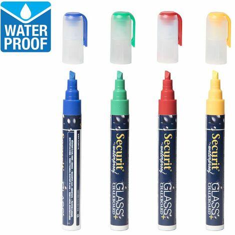 4 feutres craie couleur waterproof - Rouge, vert, bleu et jaune - 14.5 - Rouge, vert, bleu et jaune