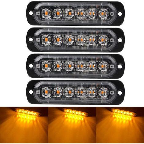 """main image of """"4 feux d'avertissement d'urgence PCS pour vehicules camions balise d'urgence avertissement de danger flash stroboscopique 6 LED montage en surface etanche, modele: noir 28"""""""