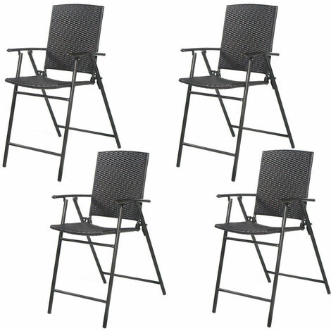 4 Folding Rattan Wicker Chairs Set Conservatory Furniture Outdoor Garden Camping