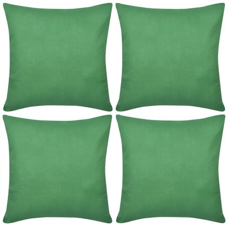 4 Green Cushion Covers Cotton 50 x 50 cm VD00560