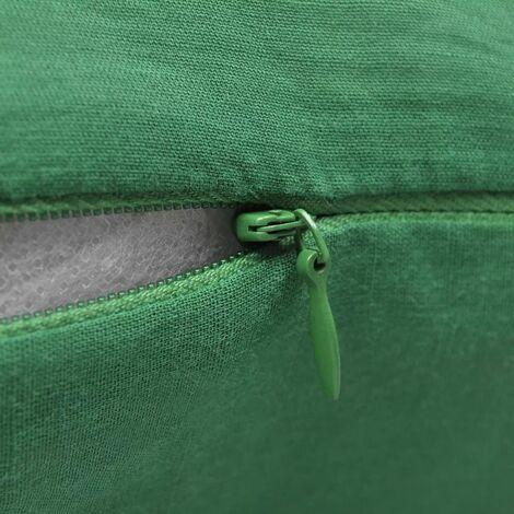 4 Green Cushion Covers Cotton 80 x 80 cm QAH00561
