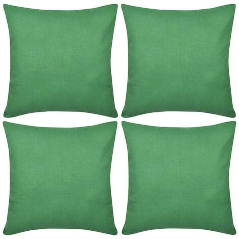 4 Green Cushion Covers Cotton 80 x 80 cm VD00561