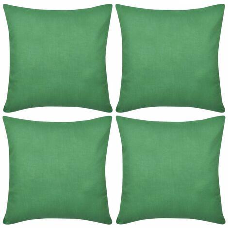 4 Green Cushion Covers Cotton 80 x 80 cm VDTD00561