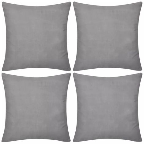"""main image of """"4 Grey Cushion Covers Cotton 50 x 50 cm VD00545"""""""