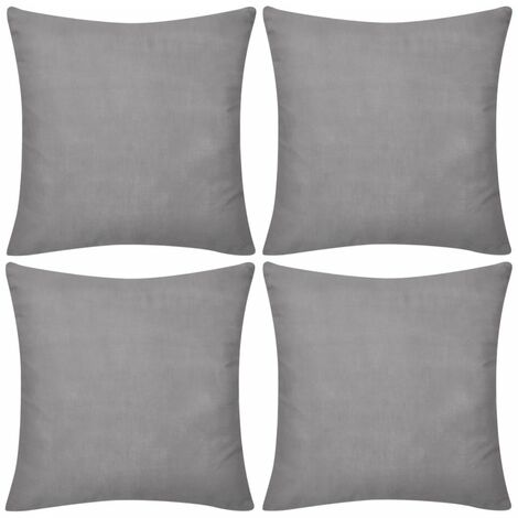 4 Grey Cushion Covers Cotton 80 x 80 cm