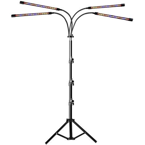 4-Head LED de Cultivo con soporte del tripode para plantas de interior controladores duales 3 modos de 9 Niveles regulable 80 LED Floor crece la lampara con 4/8 Timer / 12H para Plantas Flores Verduras
