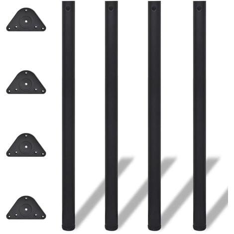 4 Height Adjustable Table Legs Black 1100 mm - Black
