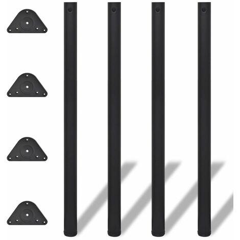 4 Height Adjustable Table Legs Black 1100 mm QAH09084