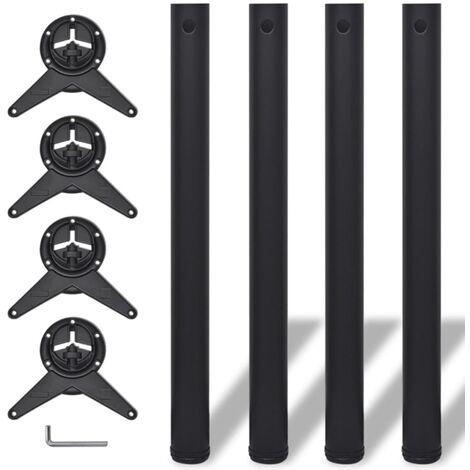 4 Height Adjustable Table Legs Black 710 mm - Black