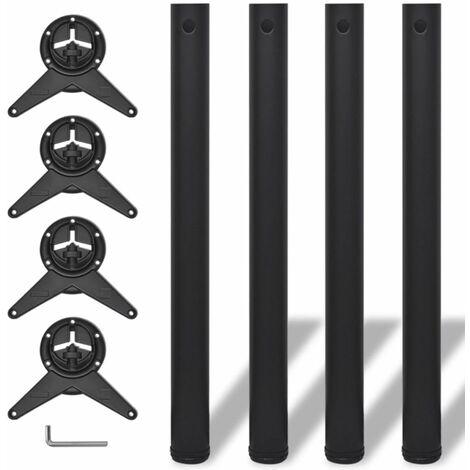 4 Height Adjustable Table Legs Black 710 mm QAH09073