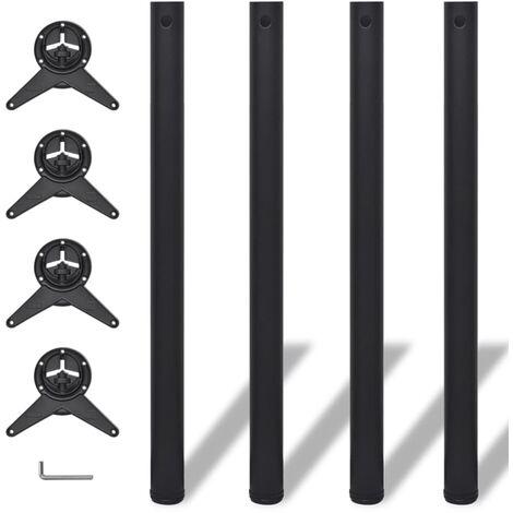 4 Height Adjustable Table Legs Black 870 mm - Black