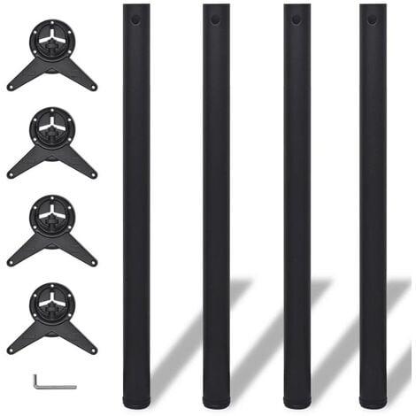 4 Height Adjustable Table Legs Black 870 mm VD09074