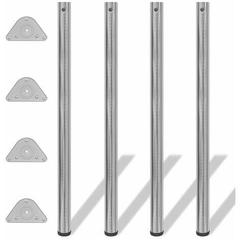 4 Height Adjustable Table Legs Brushed Nickel 1100 mm QAH09081