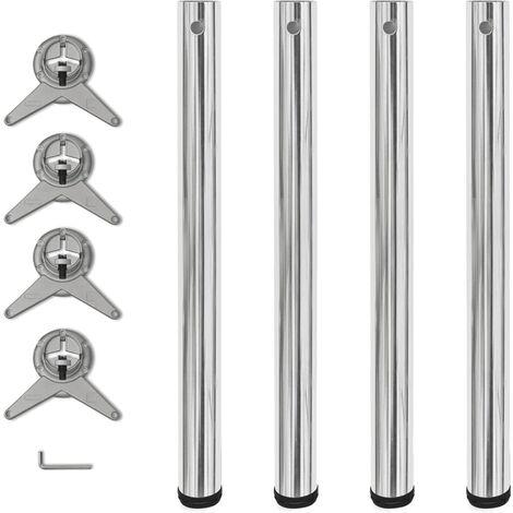 4 Height Adjustable Table Legs Chrome 710 mm