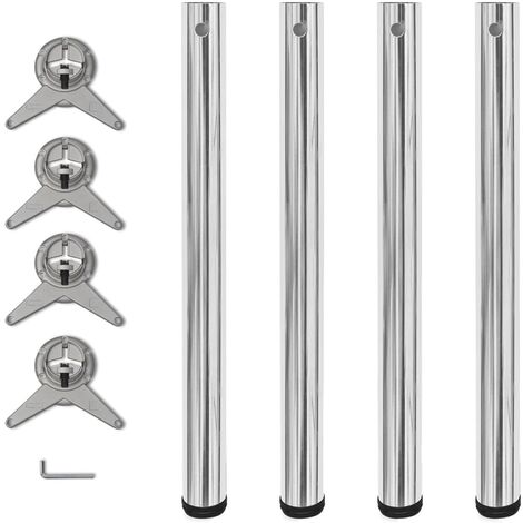 4 Height Adjustable Table Legs Chrome 710 mm - Silver