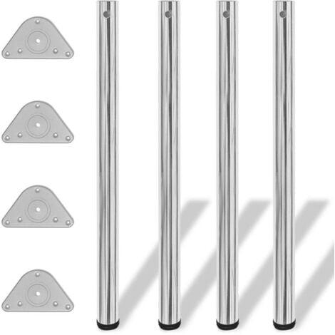 4 Height Adjustable Table Legs Chrome 870 mm