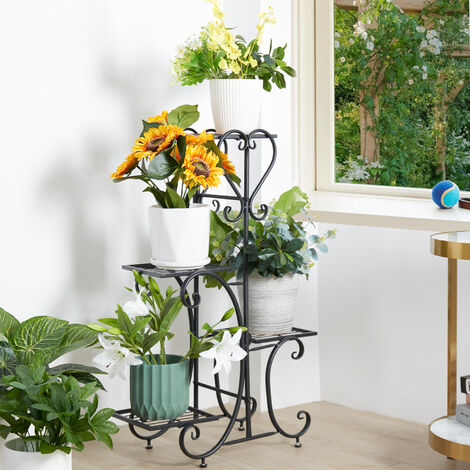4 Holder Metal Plant Pot Stand Flower Display Shelf Garden Patio Indoor Outdoor