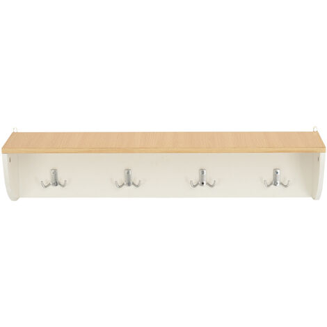 4 Hooks Coat Rack Floating Wall Mounted Display Shelf