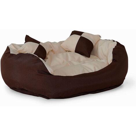 4-in-1 Hundebett, Hundekissen, Hundekörbchen mit Wendekissen, Größe wählbar, braun/beige