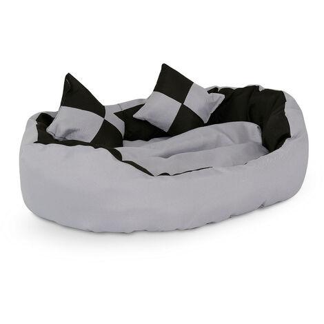 4-in-1 Hundebett, Hundekissen, Hundekörbchen mit Wendekissen, Größe wählbar, schwarz/grau
