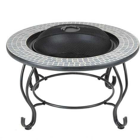 """main image of """"4 in 1 Round Table Fire Pit BBQ Grill Ice Cooler Garden Patio Heater Log Burner"""""""