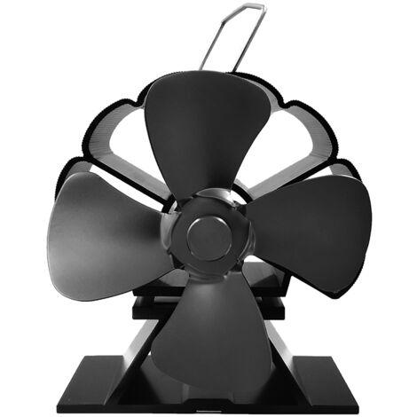 4 lames 1300 rpm ventilateur de poêle à bois cheminée feu alimenté par la chaleur économie Ecofan noir