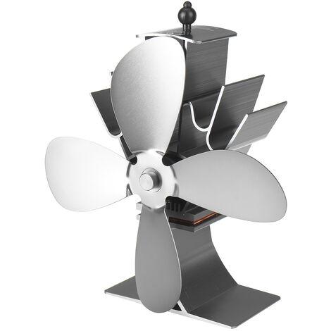 4 lames de poêle à bois ventilateur br?leur à b?ches cheminée alimenté par la chaleur économie écologique (gris)