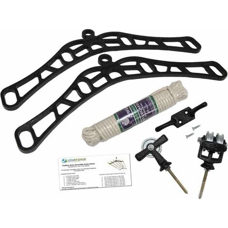 4 Lath Victorian Black Clothes Airer Kit - Choice Of Wooden Lath Lengths - 2.2m