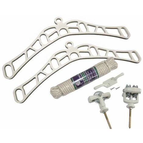 4 Lath Victorian White Clothes Airer Kit - Choice Of Wooden Lath Lengths - 2.4m