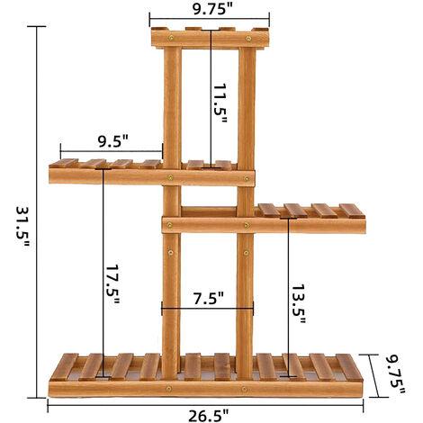4 Layer 67x25x80cm Wood Flower Stand Pot Plant Display Shelf Storage Rack With Wheels