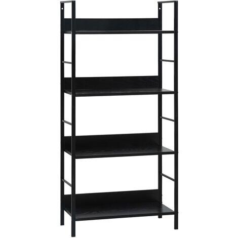 4-Layer Book Shelf Black 60x27.6x124.5 cm Chipboard