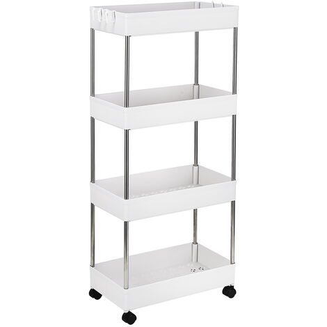 4-Layer Mobile Multi-functional Storage Cart,Suitable for Kitchen, Bathroom, Laundry Room Narrow Place, Plastic and Stainless Steel, White