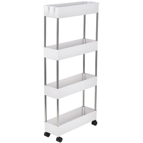 4-Layer Ultra-thin, Mobile Multi-functional Slim Storage Cart,Suitable for Kitchen, Bathroom, Laundry Room Narrow Place, Plastic and Stainless Steel, White