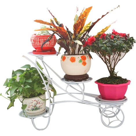 4 Layers Iron Flower Shelf Flower Stand Plant Pot Holder white 80*24*54CM