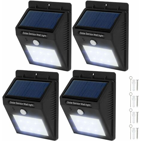4 LED solar wall lights with motion detector - garden lights, solar lights, outdoor lights - black