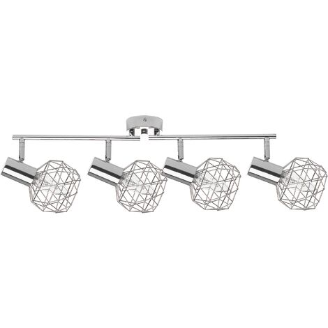 4 Light Ceiling Track Light Silver CHENAB