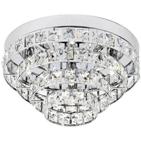 4 Light Flush Chrome Plate Living Room Decor - Stunning Chandelier