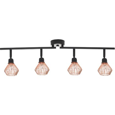 4 Light Metal Ceiling Lamp Copper VOLGA