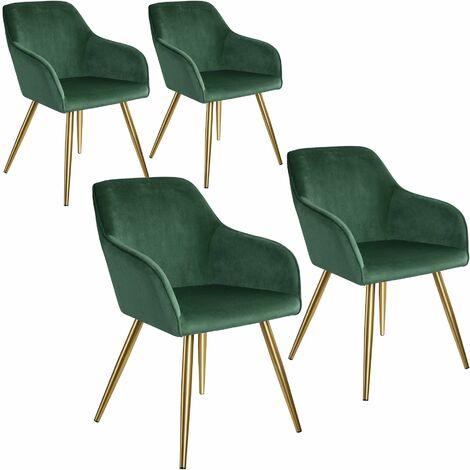 4 Marilyn Velvet-Look Chairs gold