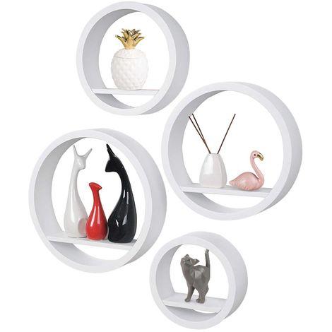 4 Mensole da Parete Moderne Design Rotondo Mensola Scaffale Legno MDF Bianco