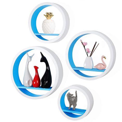 4 Mensole da Parete Moderne Design Rotondo Mensola Scaffale Legno MDF Blu