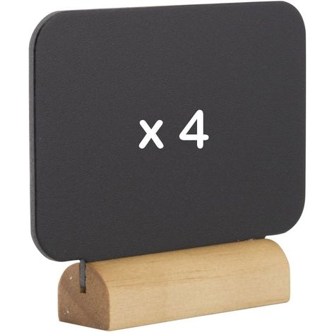 4 mini ardoises de table silhouette rectangle socle bois + feutre craie - Noir - 7 - Noir