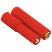 4 mm Goldkontakt Steckerset mit Kunststoffgriff rot, 5 Stück